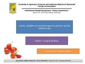 University of Agronomic Sciences and Veterinary Medicine of