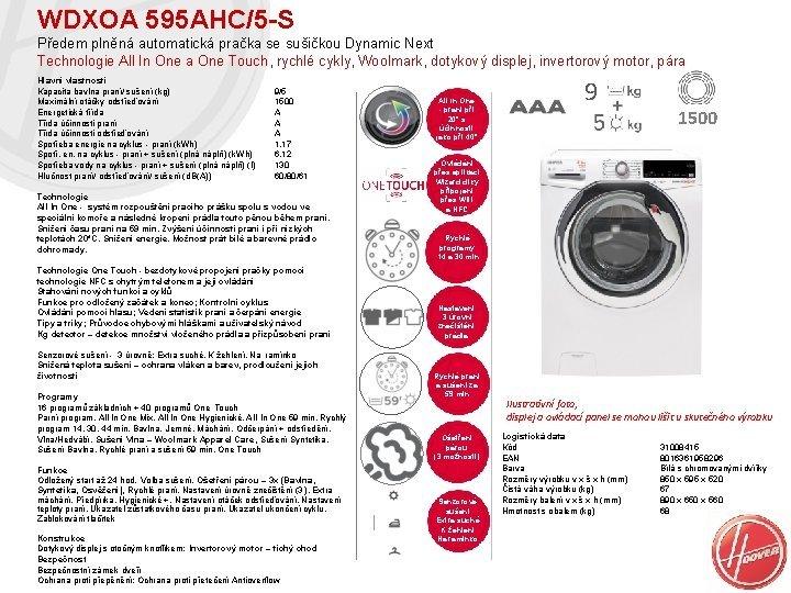 WDXOA 595 AHC5 S Pedem plnn automatick praka