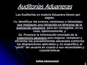 Auditoras Aduaneras Las Auditoras en materia Aduanera tienen