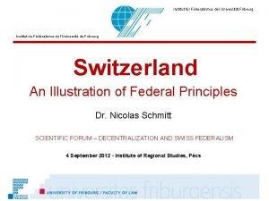 Institut fr Fderalismus der Universitt Fribourg Institut du