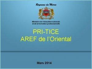 PRITICE AREF de lOriental Mars 2014 Monographie Monographie