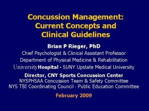Concussion Management Current Concepts and Clinical Guidelines Brian