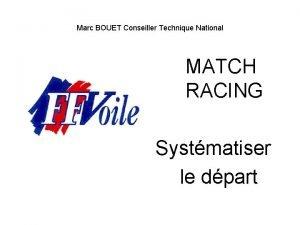 Marc BOUET Conseiller Technique National MATCH RACING Systmatiser