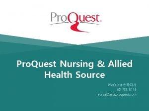Pro Quest Nursing Allied Health Source Pro Quest