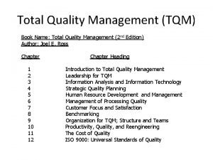 Total Quality Management TQM Book Name Total Quality