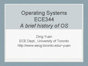 Operating Systems ECE 344 A brief history of