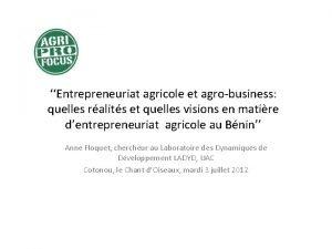 Entrepreneuriat agricole et agrobusiness quelles ralits et quelles