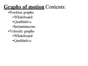 Graphs of motion Contents Position graphs Whiteboard Qualitative