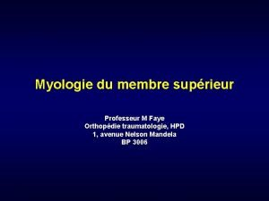 Myologie du membre suprieur Professeur M Faye Orthopdie