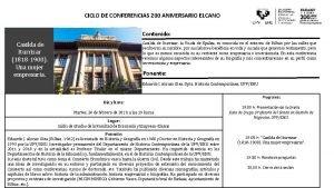 CICLO DE CONFERENCIAS 200 ANIVERSARIO ELCANO Contenido Casilda