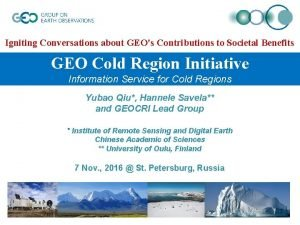 Igniting Conversations about GEOs Contributions to Societal Benefits