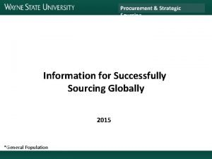 Procurement Strategic Sourcing Information for Successfully Sourcing Globally