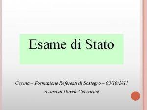 Esame di Stato Cesena Formazione Referenti di Sostegno