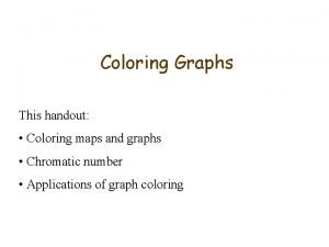 Coloring Graphs This handout Coloring maps and graphs