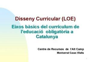 Disseny Curricular LOE Eixos bsics del currculum de