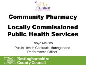 Community Pharmacy Locally Commissioned Public Health Services Tanya