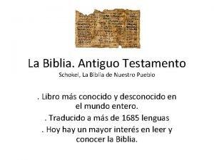 La Biblia Antiguo Testamento Schokel La Biblia de
