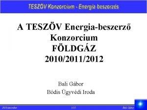 A TESZV Energiabeszerz Konzorcium FLDGZ 201020112012 Bali Gbor