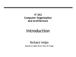 IT 252 Computer Organization and Architecture Introduction Richard