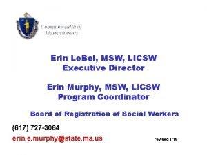 Erin Le Bel MSW LICSW Executive Director Erin
