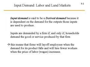 Input Demand Labor and Land Markets Input demand