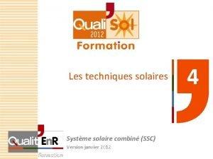 Les techniques solaires Systme solaire combin SSC Version