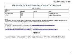 Omni RAN14 0013 01 0000 IEEE 802 RAN