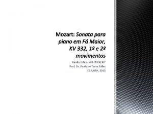 Anlise Musical II CMU 0367 Prof Dr Paulo