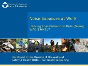 Noise Exposure at Work Hearing Loss Prevention Rule