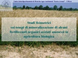 Centro Interdipartimentale di Ricerche AgroAmbientali Enrico Avanzi CIRAA