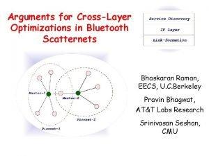 Arguments for CrossLayer Optimizations in Bluetooth Scatternets Bhaskaran