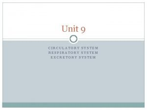 Unit 9 CIRCULATORY SYSTEM RESPIRATORY SYSTEM EXCRETORY SYSTEM