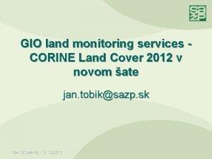 GIO land monitoring services CORINE Land Cover 2012