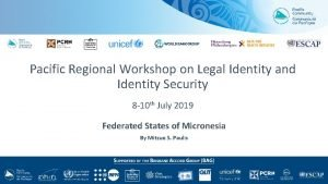 Pacific Regional Workshop on Legal Identity and Identity