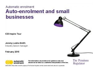 Automatic enrolment Autoenrolment and small businesses ICB Inspire