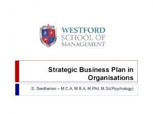 Strategic Business Plan in Organisations S Sredharran M