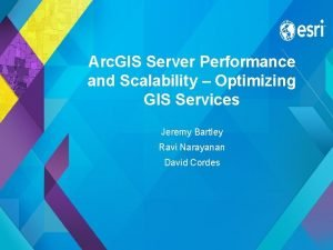Arc GIS Server Performance and Scalability Optimizing GIS