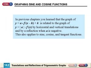 GRAPHING SINE AND COSINE FUNCTIONS In previous chapters