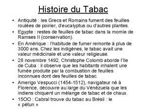 Histoire du Tabac Antiquit les Grecs et Romains