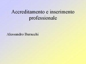 Accreditamento e inserimento professionale Alessandro Buracchi Metodo deduttivo