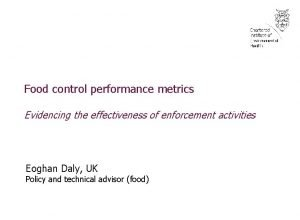 Food control performance metrics Evidencing the effectiveness of