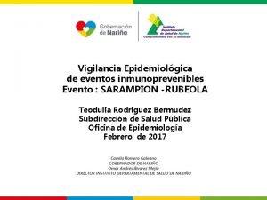 Vigilancia Epidemiolgica de eventos inmunoprevenibles Evento SARAMPION RUBEOLA