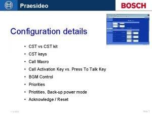 Praesideo Configuration details CST vs CST kit CST