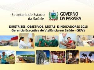 DIRETRIZES OBJETIVOS METAS E INDICADORES 2015 Gerencia Executiva