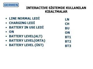 INTERACTIVE SSTEMDE KULLANILAN KISALTMALAR LINE NORMAL LED CHARGING