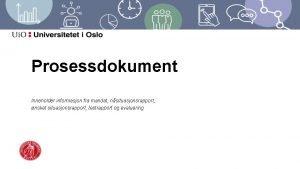 Prosessdokument Inneholder informasjon fra mandat nsituasjonsrapport nsket situasjonsrapport