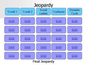 Jeopardy Vocab 1 Vocab 2 Social Ladder Confucius