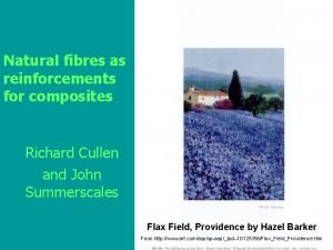 Natural fibres as reinforcements for composites Richard Cullen