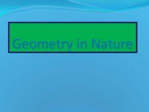 Geometry in Nature Geometry is a Greek word