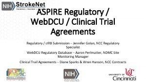 ASPIRE Regulatory Web DCU Clinical Trial Agreements Regulatory